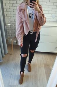 Różowa kurtka MON BOUTIQUE w stylu casual ze sztruksu