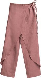 Różowe spodnie Veva z lnu