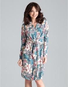 Sukienka LENITIF z długim rękawem koszulowa midi
