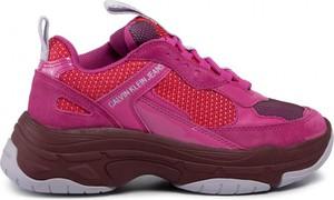 Buty sportowe Calvin Klein sznurowane na platformie ze skóry