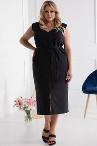Czarna sukienka KARKO z lnu z dekoltem w kształcie litery v