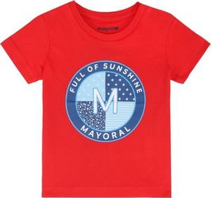 Czerwona koszulka dziecięca Mayoral z krótkim rękawem
