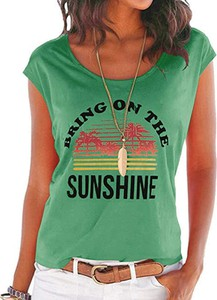 Zielona bluzka Sandbella w młodzieżowym stylu z krótkim rękawem