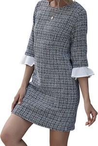 Sukienka Cikelly z okrągłym dekoltem z długim rękawem w stylu casual