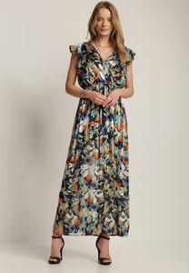 Granatowa sukienka Renee z dekoltem w kształcie litery v w stylu boho z krótkim rękawem