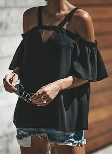 Czarna bluzka Sandbella z długim rękawem hiszpanka