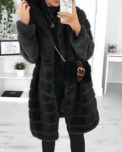 Kendallme Kieszonkowy pluszowy płaszcz z długim rękawem i kapturem kurtka czarny