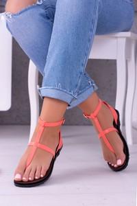 Różowe sandały Lu Boo z klamrami ze skóry ekologicznej