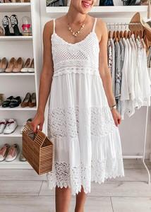 Sukienka FidoStyle w stylu boho midi z dekoltem w kształcie litery v