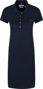 Czarna sukienka Tommy Hilfiger z krótkim rękawem z kołnierzykiem mini