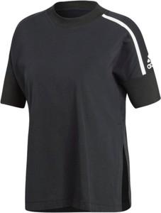 Granatowy t-shirt Adidas z dzianiny
