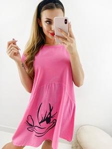 Różowa sukienka Novvi.pl bez rękawów w stylu casual z okrągłym dekoltem