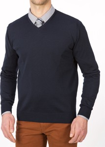Niebieski sweter Lanieri w stylu casual z wełny