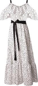 Sukienka WHITE RVBBIT z dekoltem w kształcie litery v maxi