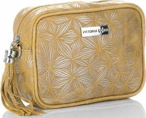 Żółta torebka VITTORIA GOTTI ze skóry na ramię w młodzieżowym stylu