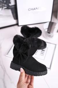 Czarne buty dziecięce zimowe Frrock dla dziewczynek