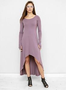 Różowa sukienka Freeshion z okrągłym dekoltem w stylu casual asymetryczna