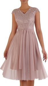 Sukienka POLSKA z tiulu z krótkim rękawem