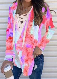 Różowa bluzka Cikelly z dekoltem w kształcie litery v w stylu casual