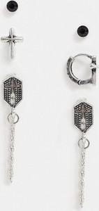 ASOS DESIGN – Zestaw kolczyków w kształcie krzyżyka-Srebrny