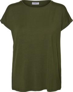 Zielony t-shirt Vero Moda z okrągłym dekoltem z krótkim rękawem w stylu casual
