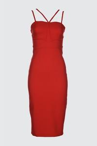 Czerwona sukienka Trendyol z dekoltem w kształcie litery v midi