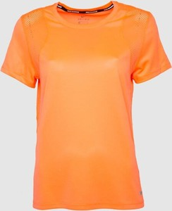 Pomarańczowa bluzka Nike z krótkim rękawem z okrągłym dekoltem