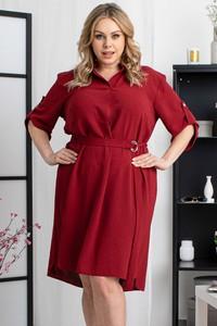Czerwona sukienka KARKO z dekoltem w kształcie litery v z tkaniny z długim rękawem