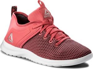 Różowe buty sportowe reebok z płaską podeszwą ze skóry ekologicznej w sportowym stylu