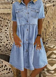 Niebieska sukienka Cikelly z jeansu z kołnierzykiem