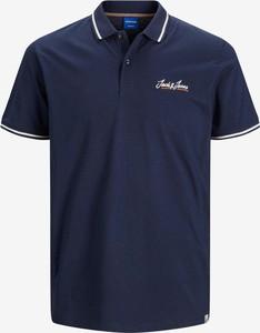 Niebieska koszulka polo Jack & Jones z krótkim rękawem