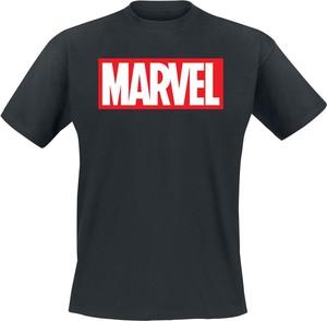 Czarny t-shirt Marvel z krótkim rękawem w młodzieżowym stylu