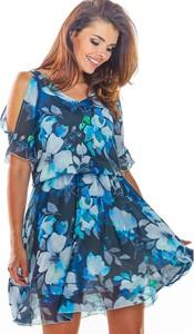 Sukienka Awama mini rozkloszowana z szyfonu