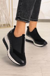 Czarne buty sportowe Pro-moda z płaską podeszwą ze skóry