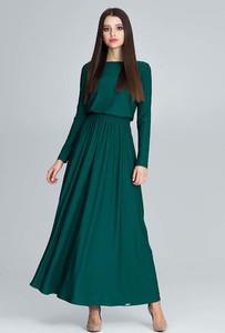 Turkusowa sukienka Figl z okrągłym dekoltem