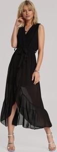 Czarna sukienka Renee w stylu casual midi bez rękawów