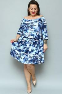 Niebieska sukienka KARKO z długim rękawem