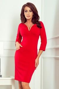 Czerwona sukienka NUMOCO z długim rękawem mini w stylu casual