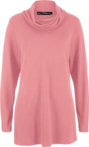 Różowy t-shirt bonprix bpc bonprix collection z długim rękawem w stylu casual