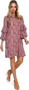 Różowa sukienka MOE w stylu casual z długim rękawem