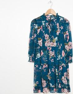 Turkusowa sukienka House z długim rękawem mini