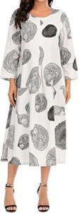 Sukienka Cikelly midi w stylu casual z okrągłym dekoltem
