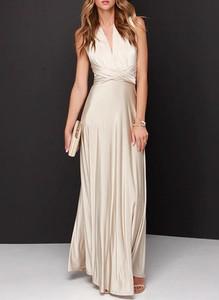 Sukienka Sandbella z dekoltem w kształcie litery v bez rękawów maxi