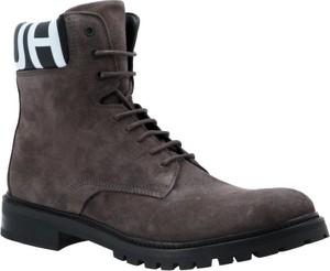 Buty zimowe Hugo Boss ze skóry sznurowane w stylu casual