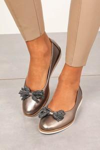 Złote baleriny Sergio Leone w stylu casual z płaską podeszwą