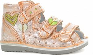 Pomarańczowe buty dziecięce letnie Wojas ze skóry