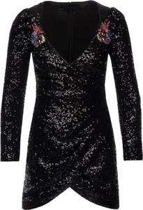 Czarna sukienka Pinko kopertowa z dekoltem w kształcie litery v mini