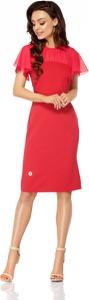 Czerwona sukienka Lemoniade prosta z krótkim rękawem