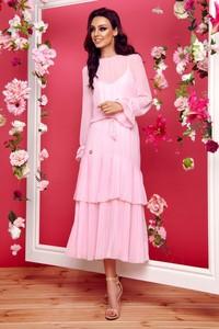 Sukienka Lemoniade w stylu boho z okrągłym dekoltem z długim rękawem