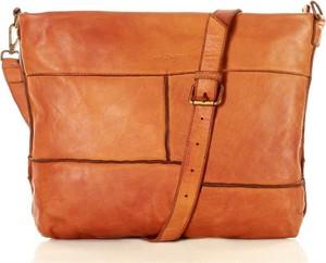 Pomarańczowa torebka MAZZINI średnia ze skóry w stylu retro